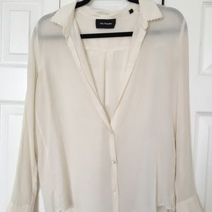 The Kooples Sheer Cream Button Down Blouse
